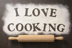 Words written in flour Stock Photos