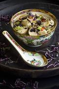 Glass noodle soup with tofu, mushrooms, radish sprouts and chilli (China) Stock Photos
