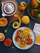 Orange juice and orange salad Stock Photos