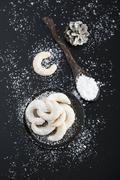 Vanilla crescent biscuits on a plate (seen from above) Stock Photos