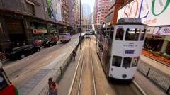 RIDING TRAM STREET NORTH POINT HONG KONG CHINA Stock Footage