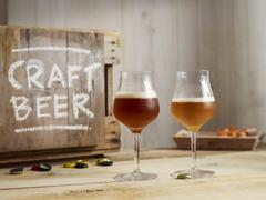 Glasses of IPA (Indian Pale Ale) craft beer Stock Photos