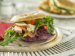 A bagel with salmon, cream cheese, lettuce, apples and tomatoes Stock Photos