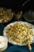 Pilau with coriander and peppermint Stock Photos
