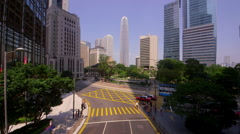 IFC TOWER PEDESTRIAN CROSSING CENTRAL HONG KONG Stock Footage