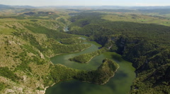 Aerial: flight over beautiful lake Uvac in Serbia. Stock Footage