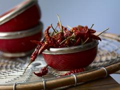 Bowl of Dried New Mexico Chili Peppers Stock Photos