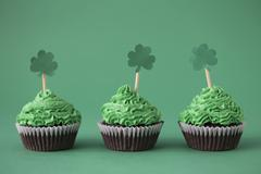 Cupcakes with green buttercream for St Patrick's Day Stock Photos