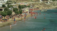 Mykonos, Greece - August 13 2016: Paradise beach with tourists. Stock Footage