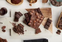 An arrangement of various bars of chocolate and cocoa beans Stock Photos