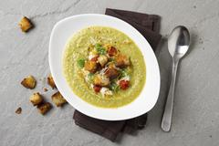 Cream of vegetable soup with croutons Stock Photos