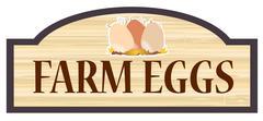 Farm Eggs Wooden Store Sign Stock Illustration