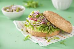 A bagel with cucumber, avocado, radish sprouts and radishes Stock Photos