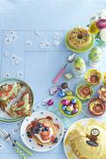 Dishes for an Easter brunch on a table Stock Photos