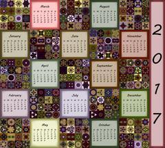 Calendar 2017. Vintage decorative colorful elements. Ornamental patchwork ori Piirros