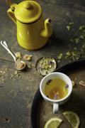 Herb tea with rock sugar Stock Photos