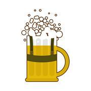 Beer mug in traditional Bavarian national costume. Alcohol for Oktoberfest. F Stock Illustration