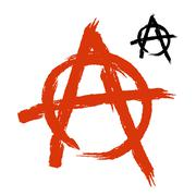 Anarchy Symbol grunge style. Sign of disorder and chaos. Emblem of arbitrarin Stock Illustration