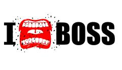 I hate boss. shout symbol of hatred and antipathy. Open mouth. Flying saliva. Stock Illustration