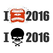 I hate 2016. Skull and bones sign of hostility. Shout symbol of hatred and an Stock Illustration