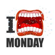 I hate Monday. shout symbol of hatred and antipathy. Open mouth. Flying saliv Stock Illustration