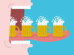 Alcoholism. Drinking many beer. Man drinks beer. Wide open mouth with teeth a Stock Illustration