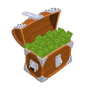 Open chest with money. Old casket with cash. Wealth dollar Stock Illustration