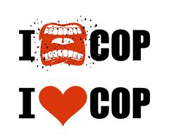 I hate cop. I love police. shout symbol of hatred and antipathy. Open mouth.  Stock Illustration