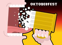 Drinks beer from mug. Man and alcohol. Poster for Oktoberfest. National Holid Stock Illustration