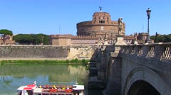 Castel Sant angelo fortress and bridge Stock Footage