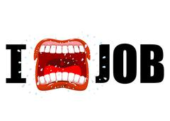 I hate job. shout symbol of hatred and antipathy. Open mouth. Flying saliva.  Stock Illustration