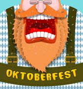 Shout Poster for Oktoberfest. Angry and aggressive man shouts. Red beard and  Stock Illustration