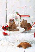 Gluten-free gingerbread with Christmas decorations Stock Photos