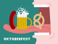 Man eating pretzel, beer and sausage. Traditional Oktoberfest food. Consumpti Piirros