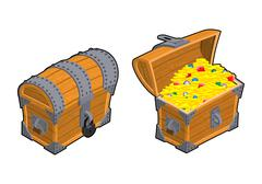 Treasure Chest set. Outdoor and indoor Old casket with money. Gold and precio Stock Illustration