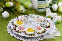 Devilled eggs on a serving platter for Easter Stock Photos