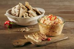 Spicy pepper dip with Thai chillis Stock Photos
