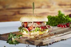 An XXL hamburger Stock Photos