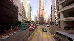 BUSES TAXIS TRAM JUNCTION WAN CHAI HONG KONG CHINA Stock Footage