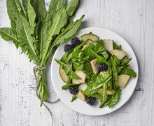 Dandelion salad with pears and blackberries on white wooden table Stock Photos