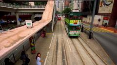 ARSENAL TRAM STOP CENTRAL HONG KONG CHINA Stock Footage