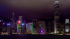 NIGHT SKYSCRAPER SKYLINE HONG KONG CHINA Stock Footage