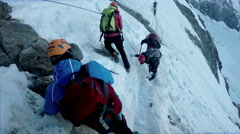 Hiking expedition at Couloir stage toward Mont Blanc Stock Footage