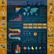 Set of elements and tools of metallurgical industry for creating infograpics. Stock Illustration