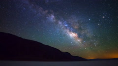 Astro Time Lapse of Milky Way over Badwater in Death Valley -Zoom Out- Stock Footage