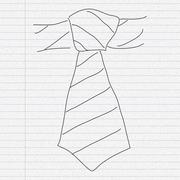 Doodle sketch of a tie on paper background Stock Illustration