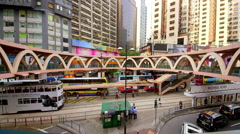TRAMS BUSES APPARTMENTS CAUSEWAY BAY HONG KONG Stock Footage