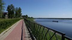 Quay in Tutaev city on the shores of Volga River Stock Footage