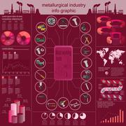 Set of elements and tools of metallurgical industry for creating infograpics Stock Illustration