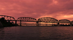 Angry Red Sky Overcast Clouds On the Ohio River Stock Footage